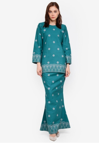 Cotton Modern Kurung With Songket Print (MGlory) from Kasih in green and blue and Silver