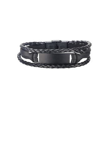 Glamorousky silver Fashion and Simple Black 316L Stainless Steel Geometric Square Multi-layer Leather Bracelet BB932AC0419B24GS_1