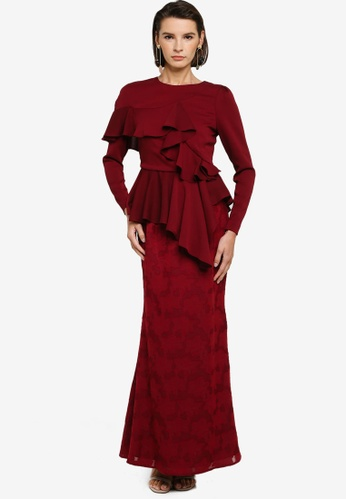 Zalia 紅色 Asymmetrical Ruffle Peplum Kurung 3B4E6AA2071A07GS_1