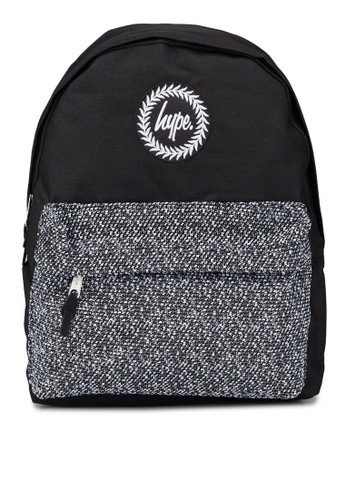 Just Hype black and grey Textured Wool Pocket Backpack CF9FDACD5C48F6GS_1