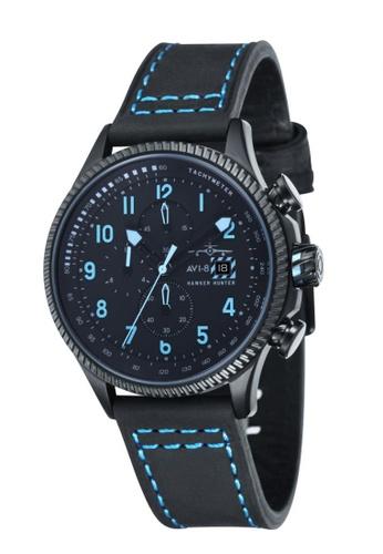 AVI-8 black Hawker Hunter Leather/ Nylon Nato Strap Watch AV642AC49JSOPH_1