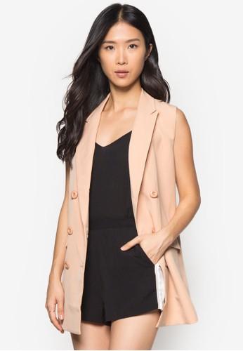 zalora 心得Collection 翻領無袖外套, 服飾, 西裝外套