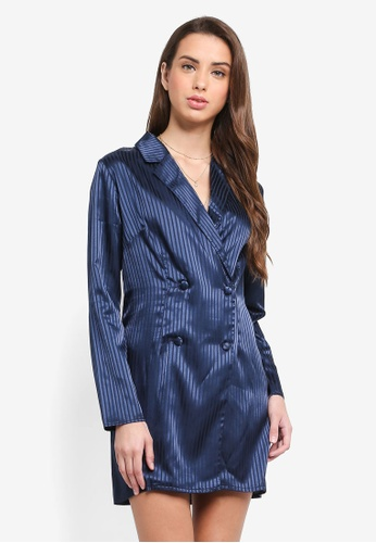 MISSGUIDED navy Striped Blazer Shift Dress 118D0AA11AE22FGS_1