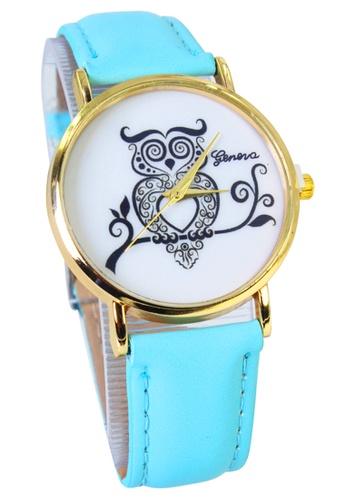 World of Watches blue Geneva Owl Women's Sky Blue Leather Strap Watch WO566AC66MHTPH_1