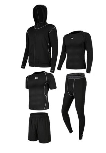 Sunnydaysweety black Sweat-Wick Tops, Tights, Shorts and Jacket Set  A081025BK C02A0AA63E765CGS_1