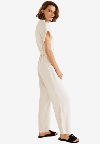 MANGO white Bow Long Jumpsuit 7D12AAA35CBDC6GS_1