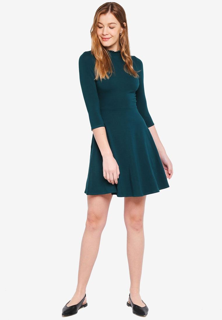 High Green Perkins Dorothy Green Neck Dress XwfqXdp