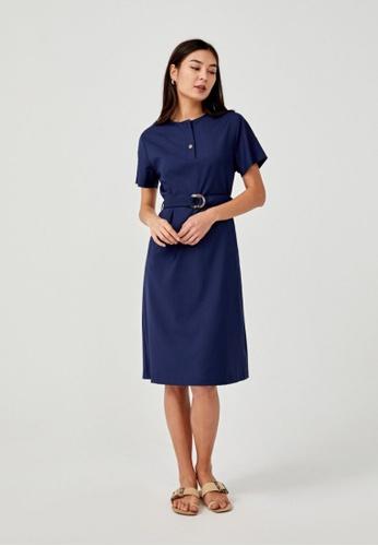 Love, Bonito blue Cherie Belted Midi Shirt Dress 0B423AAF8FD7D7GS_1