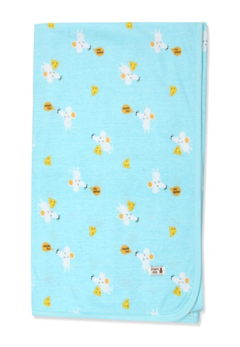 Organic mom green Organic Cotton Robin Mouse Swaddle Blanket 59053KC190E276GS_1