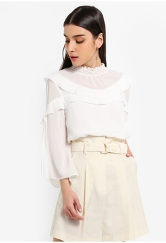 34f9770af1ce3a Preen   Proper white High Neck Pleat Detail Blouse 85CB4AA29FE9A9GS 1