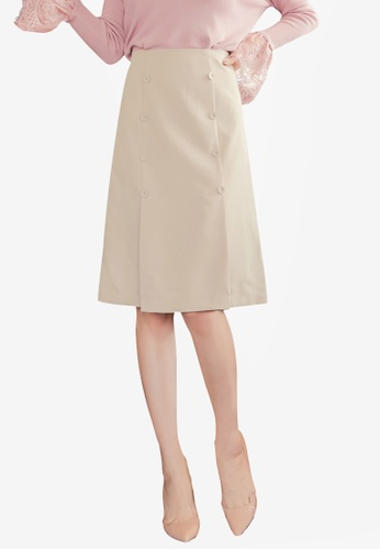 YOCO beige Buttoned Front Skirt 6307EAA5DD1778GS_1
