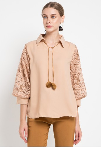 AliveLoveArts multi and brown Oscar Lace Blouse 0C826AA86304D2GS_1