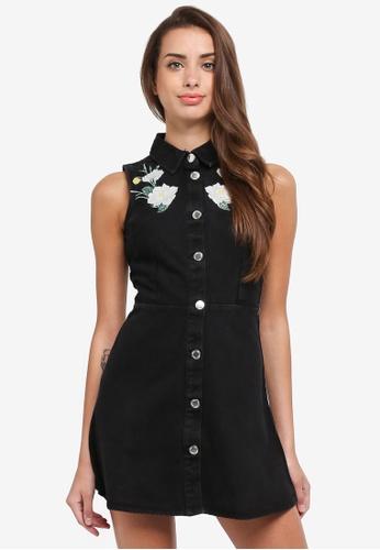 Miss Selfridge black Petite Embroidered Denim Dress DEBB0AADD2EBB7GS_1