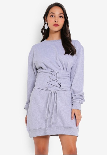 2358f110050 MISSGUIDED grey Oversized Sweater Corset Waist Dress 02AB8AA3A2A742GS 1