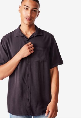 Alion Men Casual Cotton Button Front Shirt Short Sleeve Work Shirt