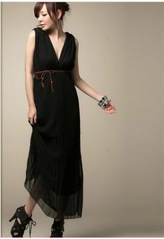 V-Neck Chiffon Long Dress