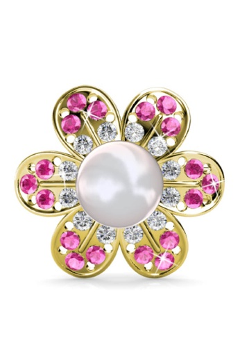Her Jewellery pink Star-Pearl Brooch (Pink) - Made with premium grade crystals from Austria ECCB3AC5ED7089GS_1