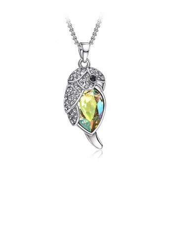 Glamorousky silver Lovely Parrot Pendant with Fluorescence Green Austrian Element Crystal and Necklace D04C5AC3E467CAGS_1