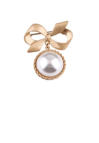 Glamorousky white Fashion Temperament Plated Gold Ribbon Imitation Pearl Brooch 32A12ACDAA468CGS_1