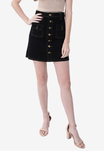 Somura black Double Pocket Skirt 0602BAAAFBB897GS_1