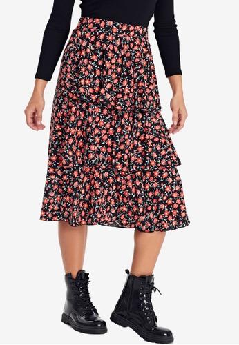LC Waikiki red Figured Ruffled Viscose Skirt A179BAA8148199GS_1
