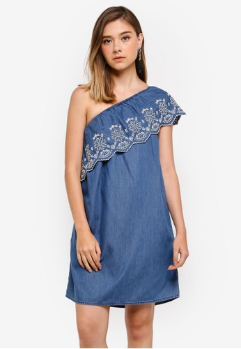 Dorothy Perkins blue Midwash One Shoulder Embroidered Dress A5D85AA8BF5679GS_1