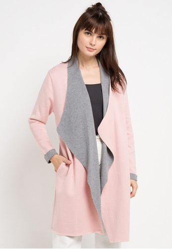 COME pink and grey Waterfall Two Tone Cardigan 4E58AAA38E5A1FGS_1