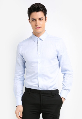 Topman blue Light Blue Herringbone Premium Shirt 20356AAF9BC00BGS_1