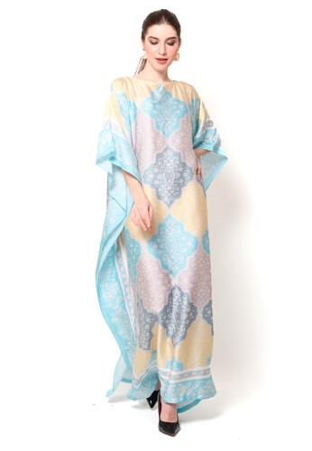 Kanzi by liza yahya blue Kanzi Short Sleeve Ethnic Kaftan  Orange 899DAAAF0C0F41GS_1