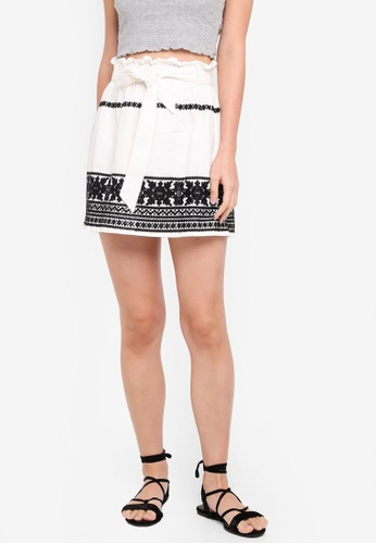 TOPSHOP white Embroidered Paper Bag Skirt DBEFFAA88F4F1CGS_1