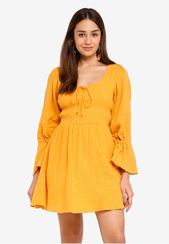 INDIKAH yellow Poet Sleeve Smocked Waist Chambray Skater Dress 6E8C8AA7B1DD04GS_1