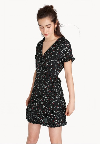 Pomelo black Mini Ruffled Trim Wrap Dress - Black 9219CAAF518FADGS_1