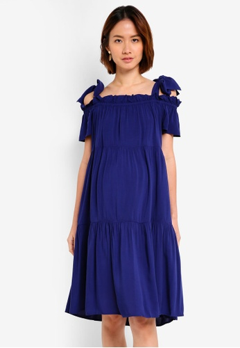 a7c338f5025 Pietro Brunelli Milano navy Positano Cold Shoulder Maternity Dress  8848AAAF5E8209GS 1