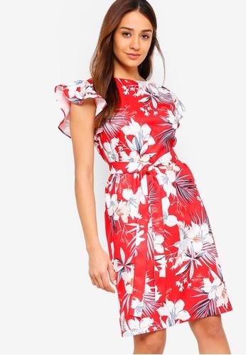 ZALORA red and multi Round Neck Shift Dress AC808AA913944FGS_1