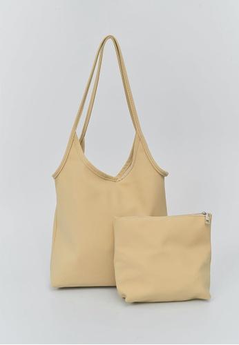 We Enjoy Simplicity yellow Matte Nylon Shoulder Bag + Pouch (Sand) AD234ACF35FF21GS_1