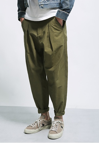 hk-ehunter green Men's Zipper Basic Solid Color Comfort Pants DBC26AAAAF0186GS_1