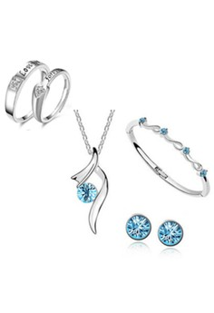 Bright Stars Austrian Crystal Accessories Jewellery Sets With 1 Pair Fashion Ring
