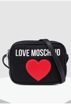 de000ffa8980 Love Moschino black Canvas Sling Bag CA3FCACE4D5B03GS 1