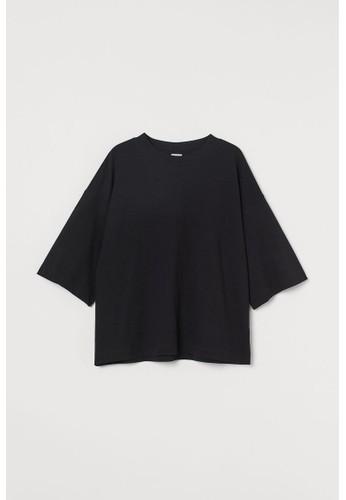 H&M black Oversized T-shirt 787D9AA8F86ECBGS_1