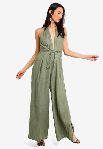 INDIKAH green Halter Tie Neck Split Hem Jumpsuit BD657AACFACE64GS_1
