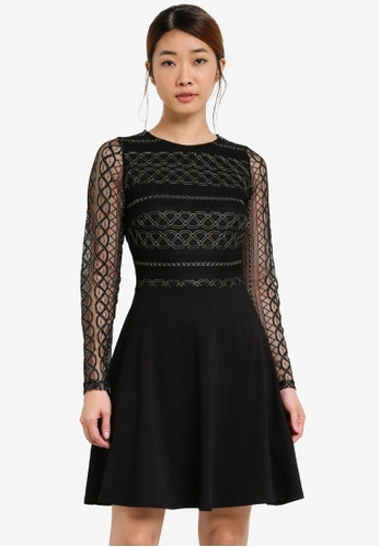 Dorothy Perkins black Gold Lace Fit And Flare Dress DO816AA0SFA1MY_1