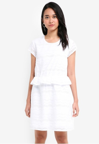ONLY white Silvija Cap Sleeve Anglais Dress 33CE3AAEB41F5AGS_1