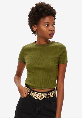TOPSHOP green Petite Short Sleeve Scallop T-Shirt E2E6BAAD8242DDGS_1