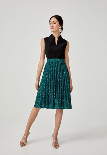 Love, Bonito green Zora A-line Pleated Midi Skirt in Solaris Atlas 2C025AA9356E48GS_1