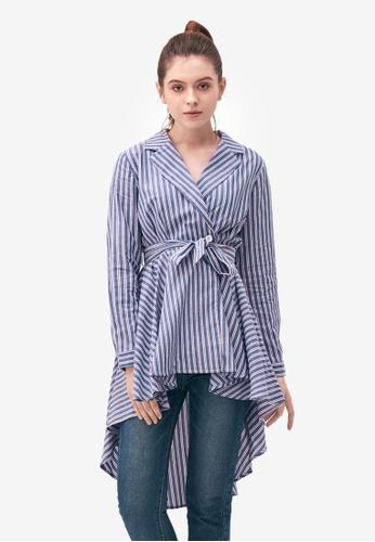 Kodz blue Striped Dress with Uneven Hem 8C74CAA8BFEF4DGS_1