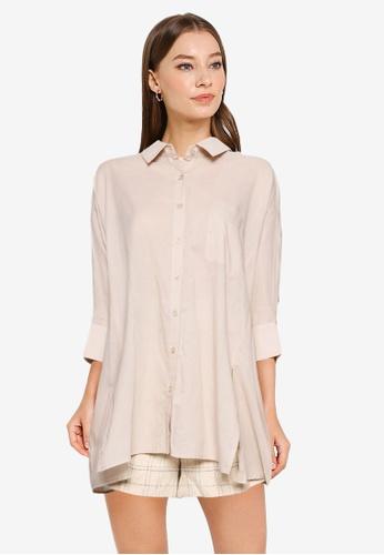 Heather brown Plain Oversized Shirt 5055DAADBFBC1CGS_1