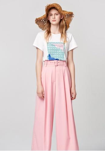 iROO pink High-Waist Flowing Trousers 87646AAE095C59GS_1