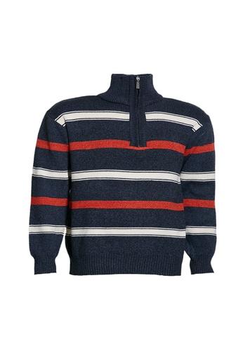Universal Traveller blue Universal Traveller Henley Mock Neck With Zip Knitted Sweater - KS 9150 2BA5EAA467CCCEGS_1