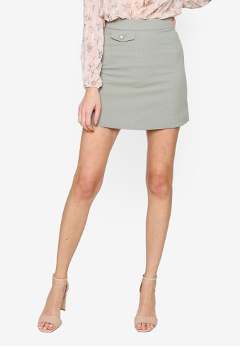 Hopeshow green Plaid A-Line Mini Skirt 51F8DAA4776E2DGS_1