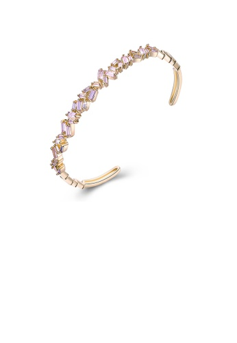 Glamorousky pink Elegant Plated Champagne Gold Open Bangle with Irregular Pink Cubic Zircon 7E374AC2CFF05EGS_1